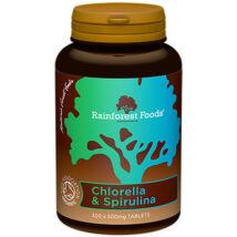 Rainforest Foods Bio chlorella és spirulina tabletta 500 mg-os (300 db)