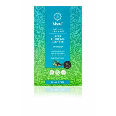 Khadi DEEP CHARCOAL CLEANSE ayurvédikus hajpakolás (50 g)