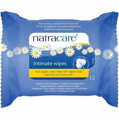 Natracare Bio intim törlőkendő (12 db)