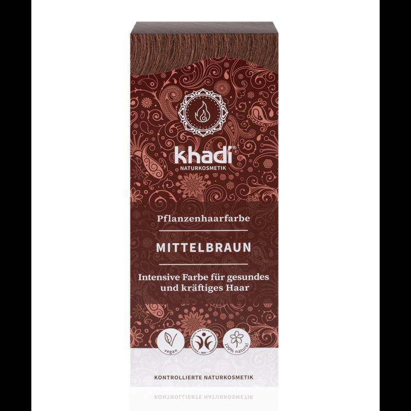 Khadi Növényi hajfesték por középbarna (100 g)