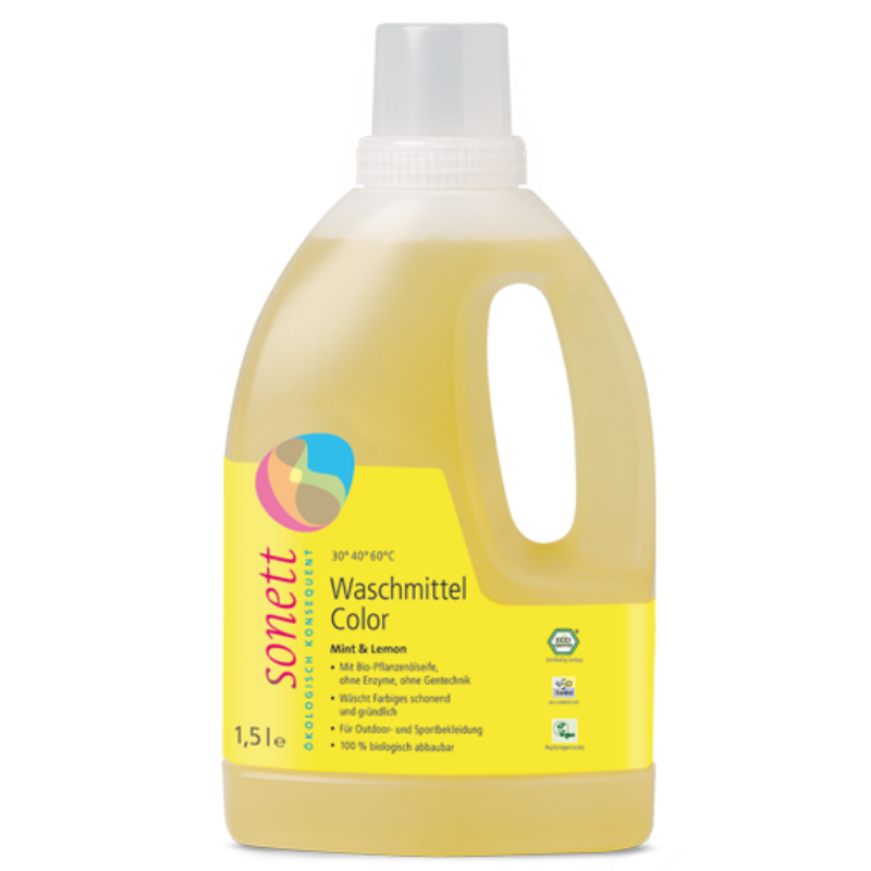 Sonett Folyékony mosószer színes ruhához - menta és citrom (1,5 l)